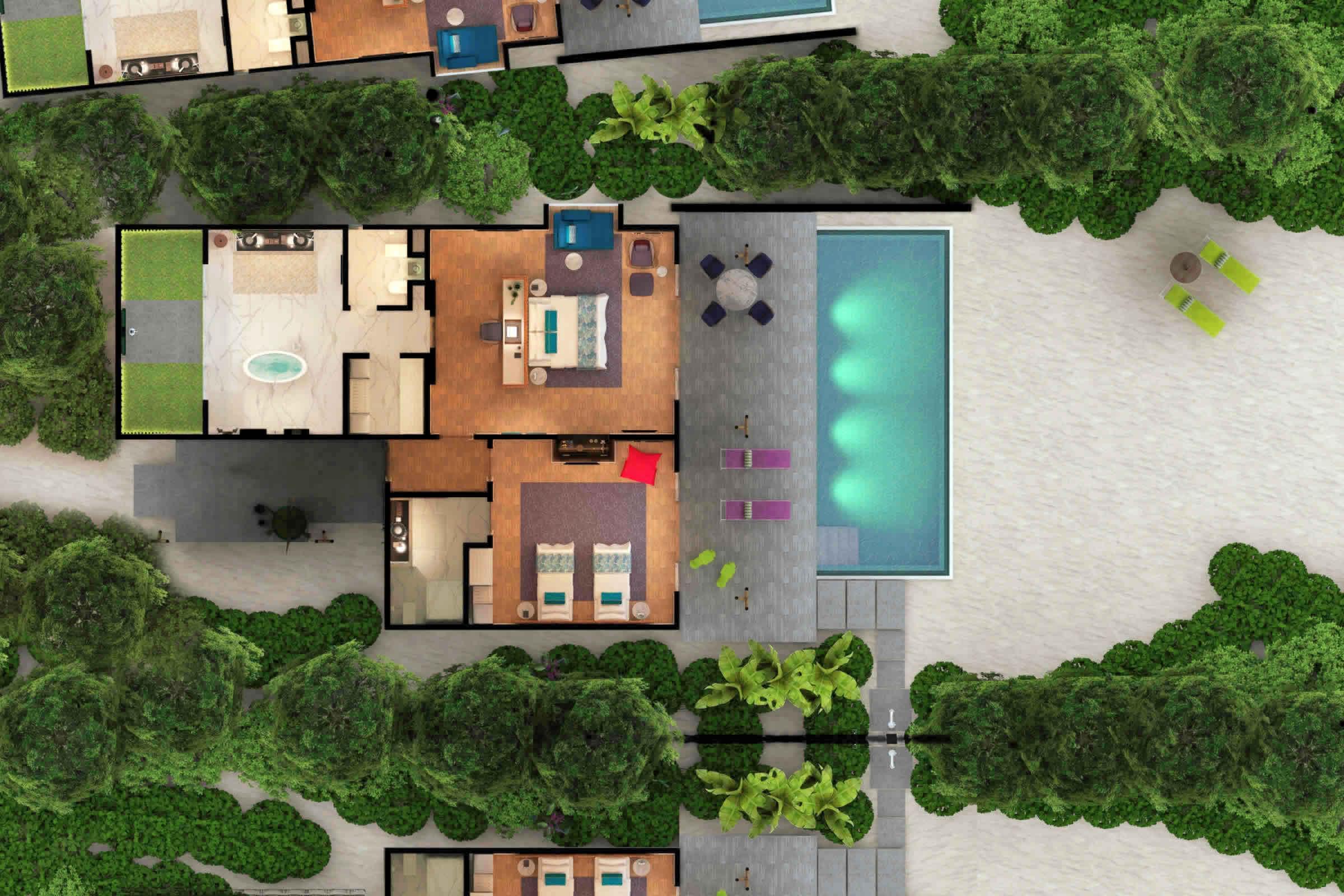 Family beach villa with pool