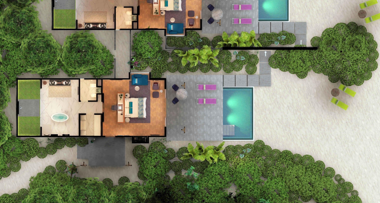 Marina beach villa with pool